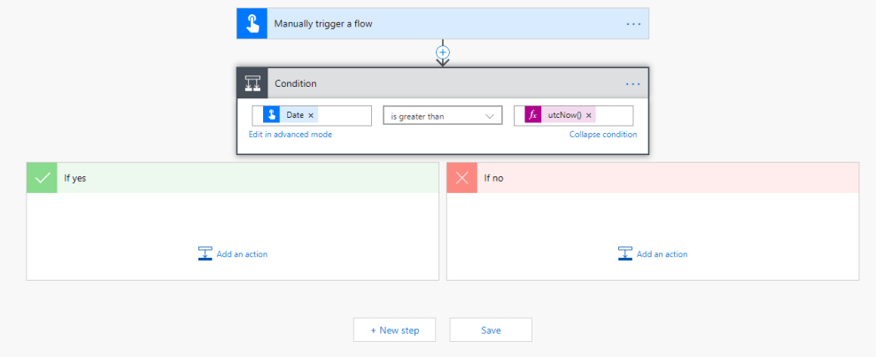 Compare Dates from a Manually trigger a flow trigger