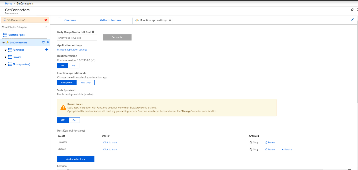 Runtime versions in Azure functions