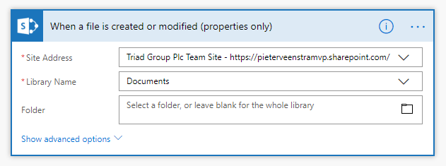 When a file is create or modified (properties only) trigger