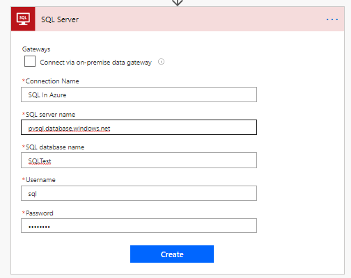 connect to sql in Azure