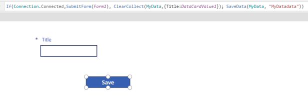 SaveData function in Power Apps