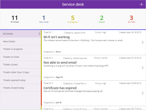 Service Desk template in Power Apps