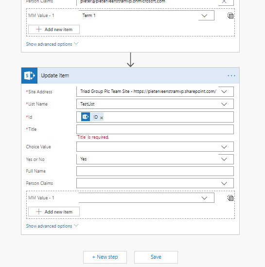 Updating SharePoint list items with a flow
