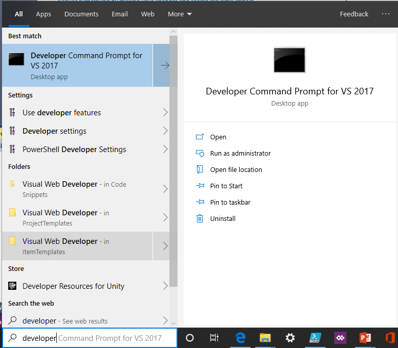 Starting Developer Command Prompt for VS 2017