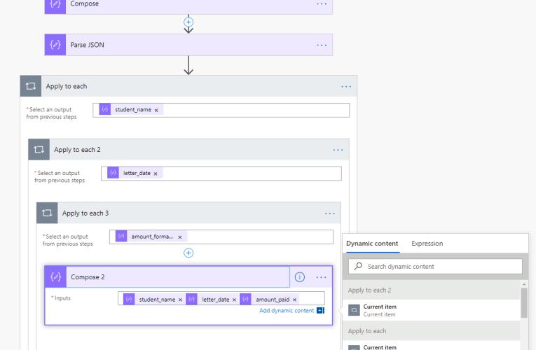 Multiple arrays in a single object in Microsoft Flow
