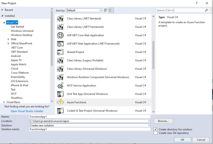 Visual Studio create a new function