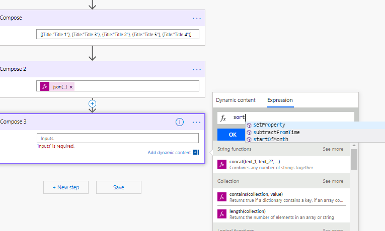 Sort an array or collection in Microsoft Flow