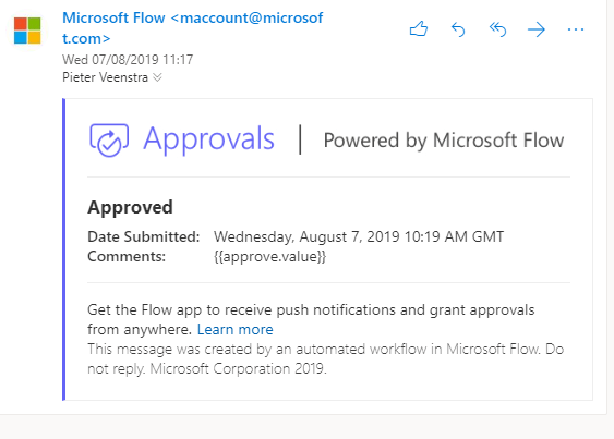 Microsoft Flow approvals from within outlook