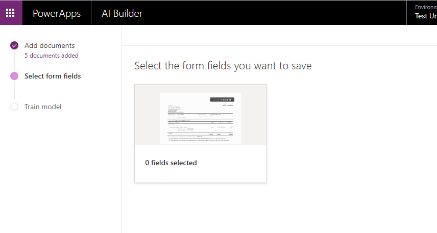 Select Fields in AI Builder