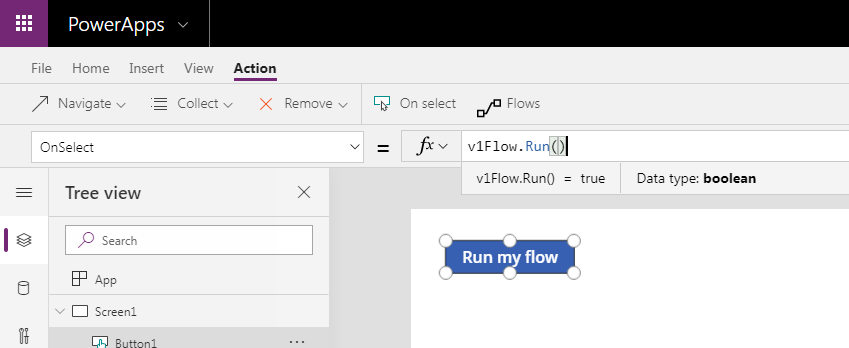 Version 1 of the flow run from Power Apps.