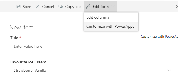 Customize with PowerApps