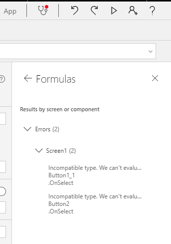 Incompatible Type and Variable Errors in Power Apps 5