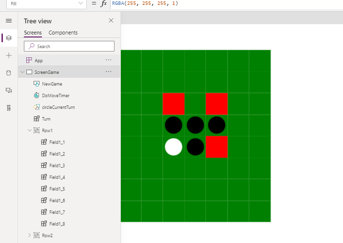 Game development,  Create 1 awesome Othello/Reversi app with Power Apps