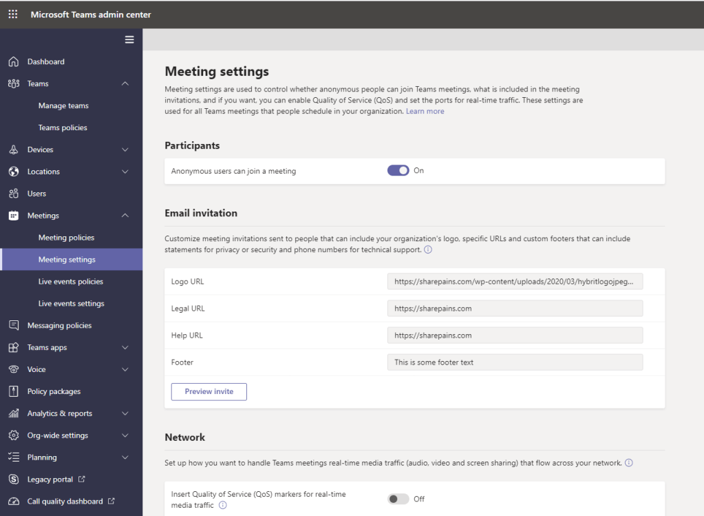 Customize meeting invitations settings