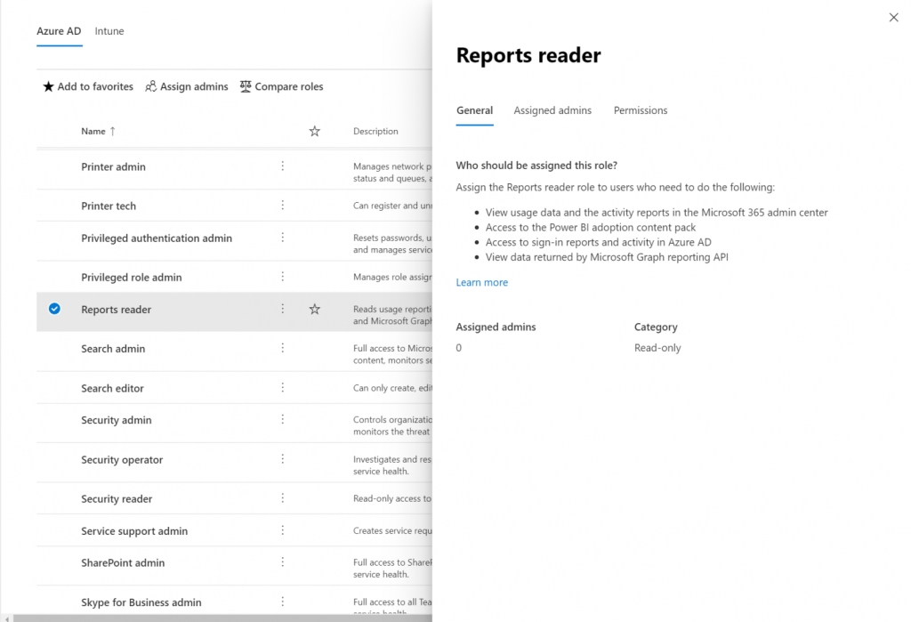 General description of the reports reader role.