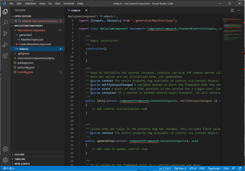 Component code in Visual Studio code