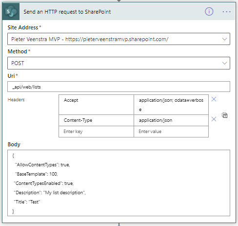 Create a SharePoint list using Power Automate