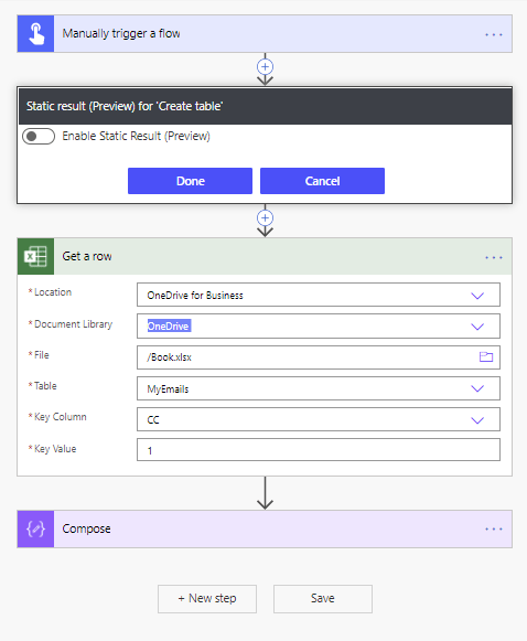 Disable an action with static result