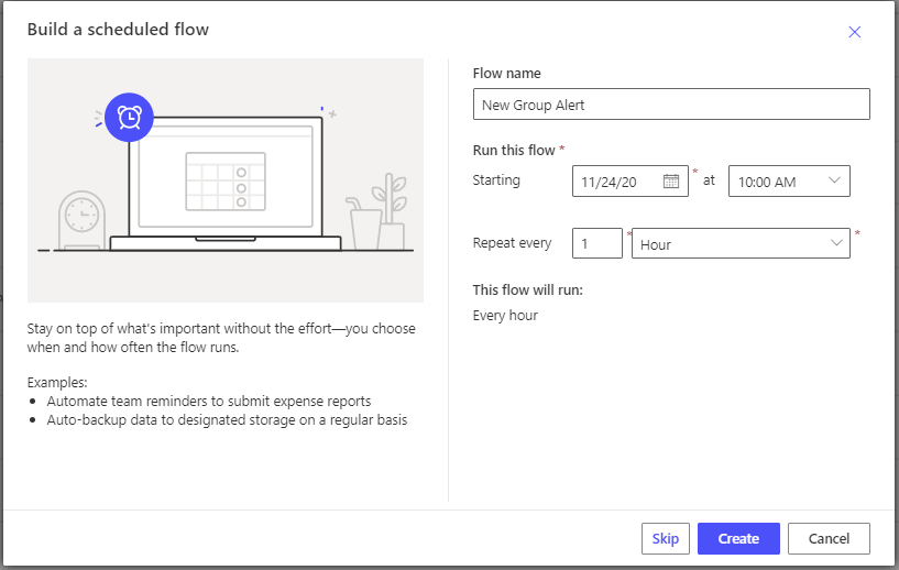 Create new group alert using Power Automate Microsoft Power Automate Create new Sceheduled flow