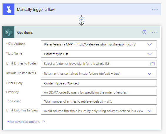 Filter by Content Type using Get Items in Power Automate.