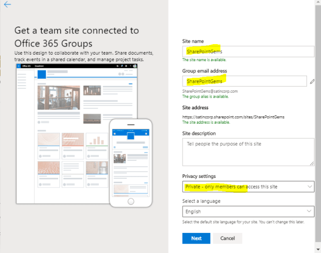 Team site in SharePoint Online PowerShell