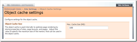 Object Cache Settings Page