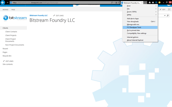 Accessing the IE Developer Tools