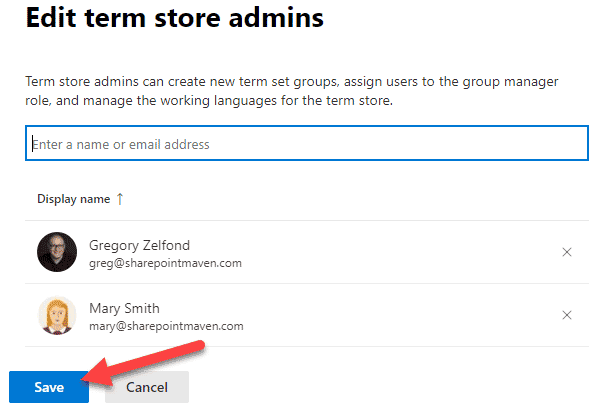 security roles of a SharePoint Term Store