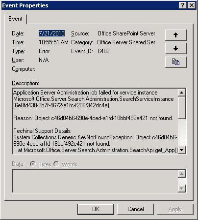 Event ID: 6482 Source: Office SharePoint Server