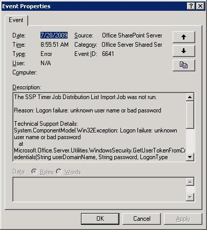 Event ID: 6641 Office SharePoint Server