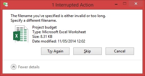 File name invalid or too long