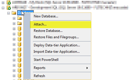 attach database