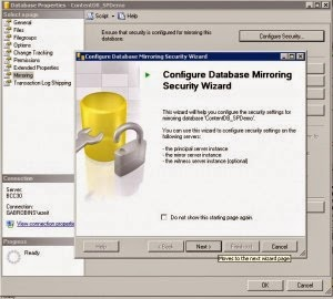 configuring database mirroring secirity wizard