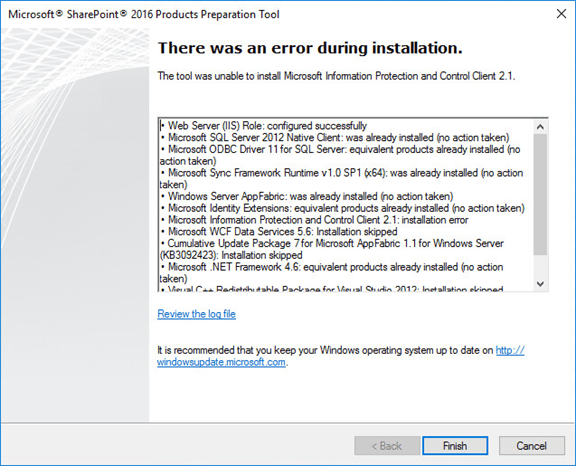 Unable to install Microsoft Information Protection and control Client Error SharePoint 2016