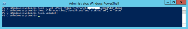 save site as template powershell