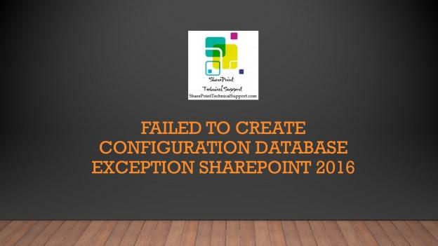 Failed to create configuration database 1920x1080
