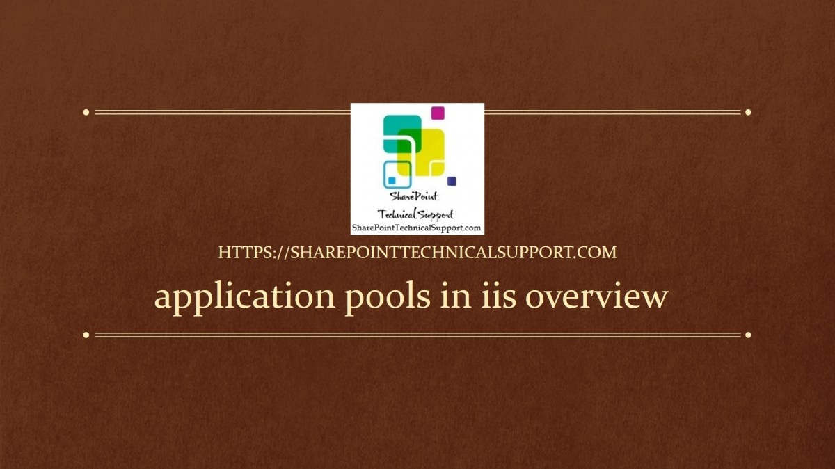 application pools in iis overview