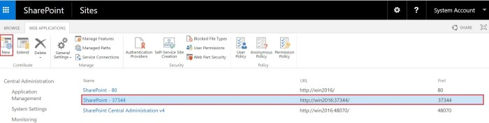 web application in SharePoint