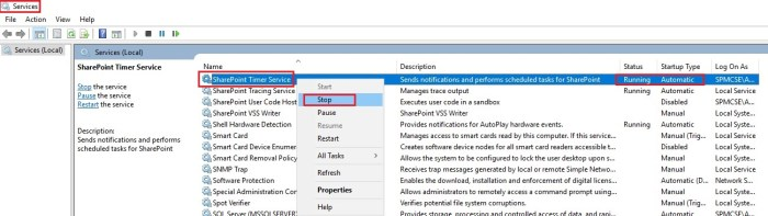 how to stop services sharepoint timer services SPTimerV4 during configuration cache clearing