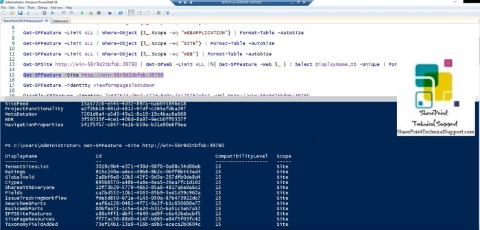 SharePoint 2019 feature id of site