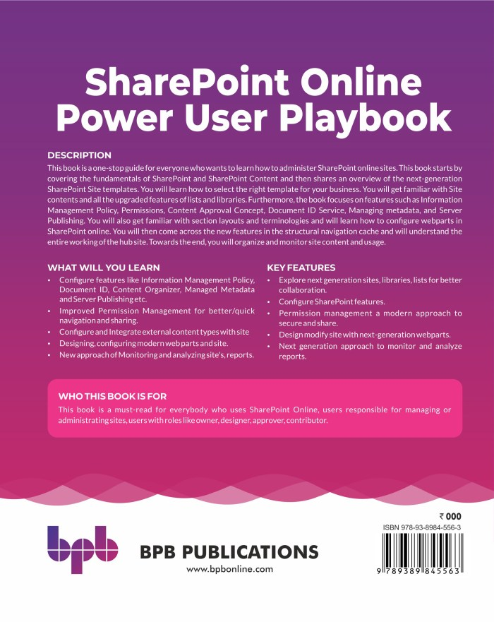 SharePoint online power user playbook back page
