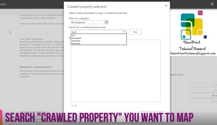 crawled property in sharepoint 2019 search