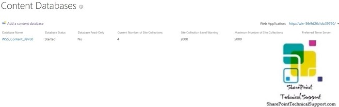 Add a content database in sharepoint 2019