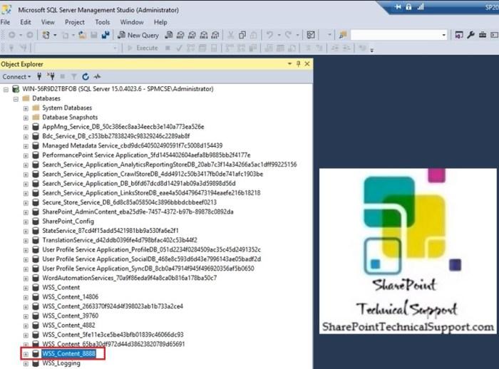 content database in sql database server