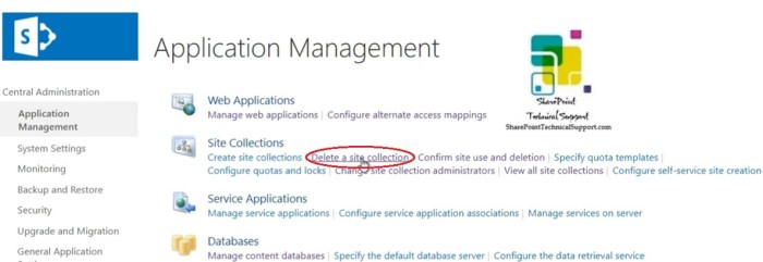 delete a site collection in sharepoint from central admin