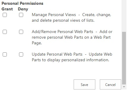 user policy permission policy level personal permissions