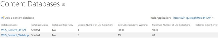attach content databases in web application sharepoint