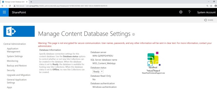 manage content database settings