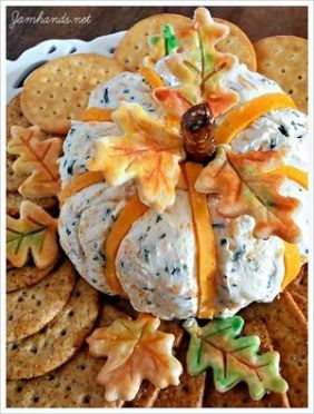 Cheddar and chive pumpkin cheeseball