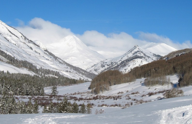 The Slate River Drainage offers spectacular opportunities for many types of winter recreation near Crested Butte, CO.